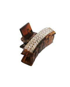 Kopča za kosu Smeđa sa cirkonima 3 cm