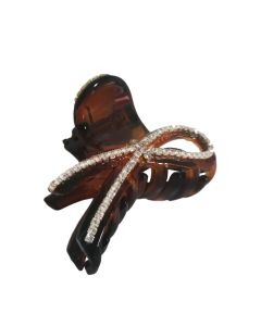 Kopča za kosu Smeđa sa cirkonima 5 cm