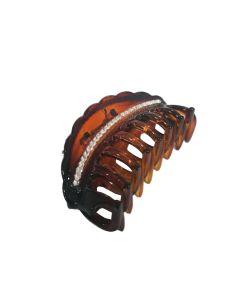 Kopča za kosu Smeđa sa cirkonima 6,5 cm